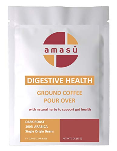 Amasu Ground Nicaraguan Coffee with Natural Herbs Digestive Health Support Pour Over (5 pack)