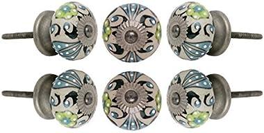 Set of 6 Round Ceramic Talid Knob Antique Chrome Finish Kitchen Cabinet Cupboard Door Knobs Dressser Wardrobe and Drawer Pull