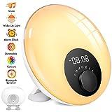 Lichtwecker mit Bluetooth Lautsprecher, Kinderwecker mit Schlummer, Sonnenaufgang- & Sonnenuntergang-Simulation und Schlafhilfe, Stimmungslicht mit 7 Farben, 10 Melodie, Touch-Bedienung