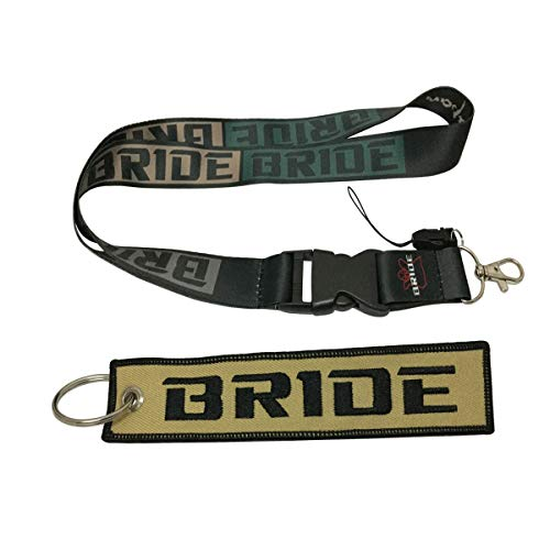 Ewein 1pc Lanyard + 1pc Tag Embroidered Keychain Motorcycle Superbike Scooter Car ATV UTV House Keys Chain Office ID Biker Accessories Works with (Bride)
