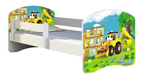 ACMA Kinderbett Jugendbett mit Einer Schublade und Matratze Weiß II 140 160 180 40 Design (160x80 cm, 20 Bagger)