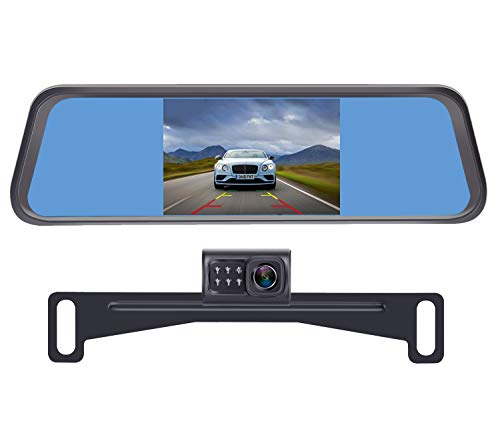 LeeKooLuu LK1 HD 720P Backup Camera with 4.3'' Mirror Monitor Kit for Cars,Vans,Trucks,Campers Hitch Rear View Camera Single Power System IP 69 Waterproof License Plate Camera DIY Backup Guide Lines
