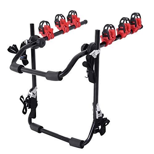 HOMCOM Fahrradheckträger für 3 Fahrräder Fahrradträger Heckträger faltbar mit Sicherheitsgurte Metall + Kunststoff
