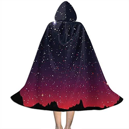 Capa De Vampiro Red Sky Night Starry Moon Astrologa Vampiros con Capucha Talla Unica Capa Vampiro Encapuchado Disfraz De Fiesta para Adultos Fiesta 150X40Cm