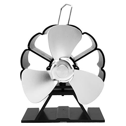 zhoujinf Mini-Ventilator für Kaminofen, 3 Flügel, Aluminium, geräuschlos, umweltfreundlich, für Ventilator, Heizlüfter für Holzöfen Silber
