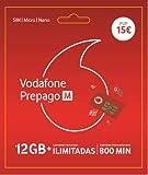 Vodafone Prepago M 12GB + Llamadas ilimitadas (800 min internacionales)