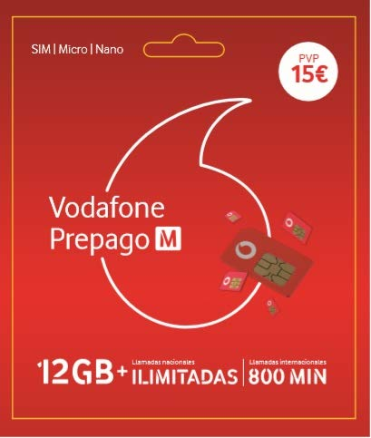 Vodafone Prepago M 12GB + Llamadas ilimitadas Nacionales (80