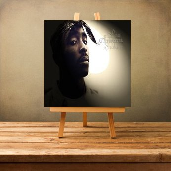Luxury Organization Spectacular 2Pac Tupac Amaru Shakur Facial Black Bandana Digital White Shadow Flash Hintergrund Hip Hop Rap 50x50x4cm Gerahmte Leinwand Art