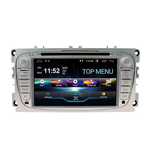 Android 10.0 Car Audio Stereo Headunit para Ford Mondeo Focus Fusion Transit Fiesta Galaxy Reproductor de DVD Radio 7 pulgadas HD Pantalla táctil Navegación GPS con Bluetooth WIFI 3G 2GB + 80GB (Silv