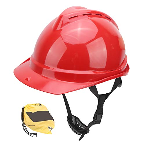 Casco industrial Casco de trabajo de protección transpirable Casco duro para obras de construcción Operación de jardín, Rojo