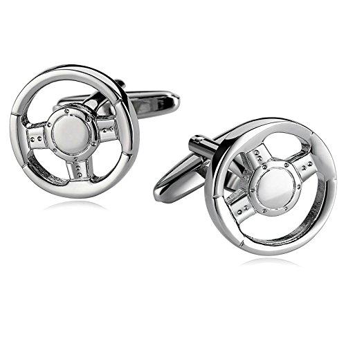 SonMo 1 Paar Herren Manschettenknopf Edelstahl Manschettenknöpfe Herren Hochzeit Auto Lenkrad Elegante Silber 1.8×1.8 cm mit Geschenkbox