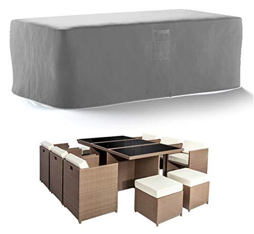 HBCOLLECTION® Housse Haute résistance 500D pour Table Salon de Jardin Gris (173x113 H72cm)