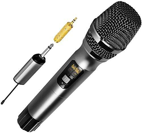 Handheld Dynamische Draadloze Karaoke Microfoon 25 Kanaal Professionele UHF Draadloze Microfoon Systeem Met Draagbare Ontvanger 6 5mm Output voor Huis Feesten Karaoke Singing Machine Business M(Upgrad