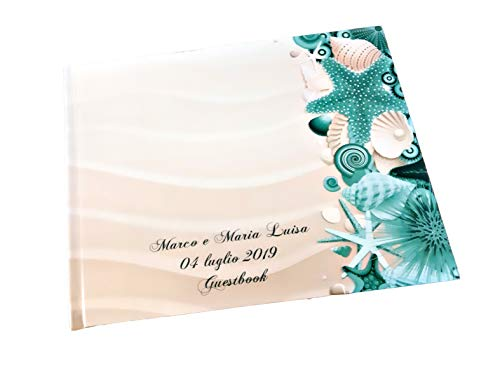 Guestbook matrimonio - libro dediche e auguri invitati personalizzato conchiglie mare stella marina sabbia
