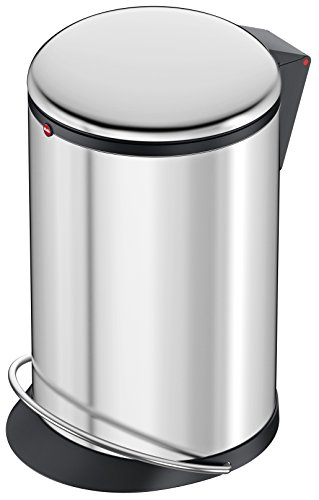 Hailo Harmony M, Mülleimer aus Edelstahl, 12 Liter, breite Metall-Fußreling, Müllbeutel-Klemmung, Deckeldämpfung (Soft Close), Edelstahl, Made in Germany, 0515-010