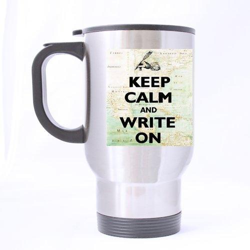 Maureen52Dorothy Top Funny Writer Gifts Keep Calm And Write On Carry On Theme - Tazas de viaje 100% de material de acero inoxidable, tamaños de 14oz