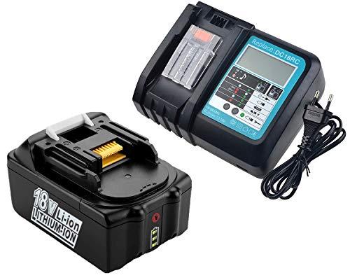 BL1850B Batteria 18V 5.0Ah con Caricatore DC18RC di Ricambio per Makita 18V Batteria BL1860B BL1860 BL1850 BL1840B LXT-400