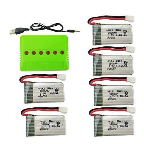 6 batterie da 3,7 V, 380 mAh, con caricatore 6 in 1, compatibili con HS170/E016/Q2020/H107 RC Drone Quadcopter batterie di ricarica, drone, batteria al litio