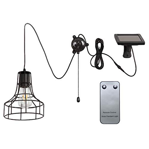 MCLseller ​Solar Pendant Light with E27 Socket​, ​Industrial ​Metal Cage Solar Led Shed Light with Rmote Control & Pull Cord Outdoor Waterproof Hanging ​Pendant Lamp for Barn Farm Garden Yard