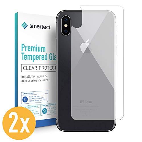 smartect Beschermglas compatibel met iPhone XS/X [2x Achterkant] - screen protector met 9H hardheid - bubbelvrije beschermlaag - antivingerafdruk kogelvrije glasfolie