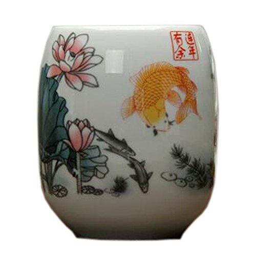 Blancho Tasse à thé en céramique chinoise de tasses de thé 2PCS, Poisson