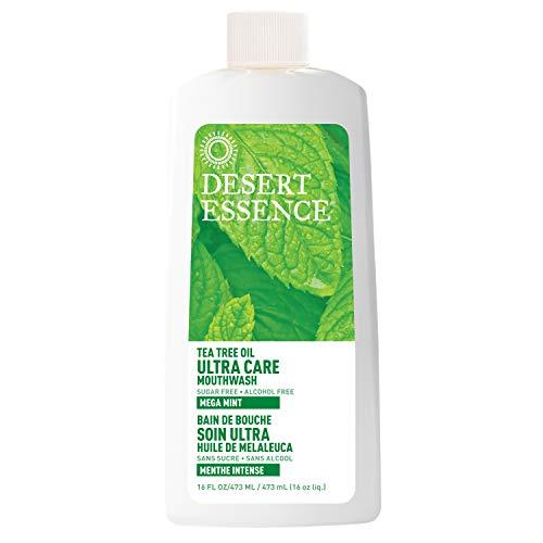 Desert Essence Natural Tea Tree Oil Ultra Care Mouthwash - Mega Mint - 16 Fl Oz - Freshens Breath - Defends Against Sugar Acids - Vitamin C - Soothes Gums - Whitening Floss - Removes Food Debris