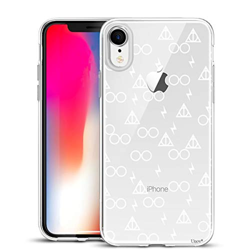 Unov Case Clear with Design Slim Protective Soft TPU Bumper Embossed Pattern [Support Wireless Charging] Cover for iPhone XR 6.1 Inch(Death Hallows)
