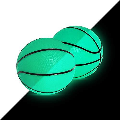 5' Glow in The Dark Mini Basketball for SKLZ Pro Mini Basketball Hoop Midnight, 2 Pack | PVC, Soft Small Basketball Perfect for Over The Door Mini Hoop Basketball or Kids Basketball
