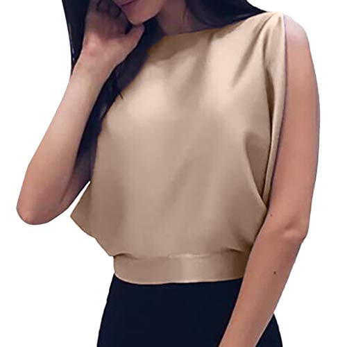 FRAUIT Camicia Donna Elegante Chiffon Puro Colore Camicetta Blusa con Papillon Classica Backless Top Canotta Eleganti Corta Magliette Ragazza Senza Maniche Tinta Unita per Primavera Estive