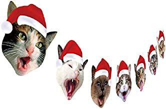 Cat Christmas Garland, Cat Face Christmas Party Hanging Decorations, Xmas Gift for Cat Lover