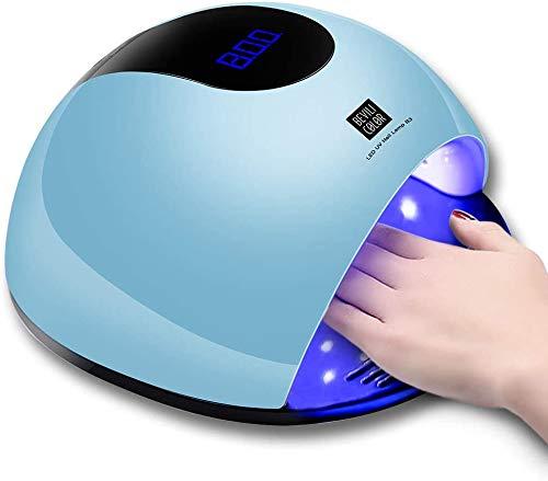 HWXDH Lampe à Ongles UV LED pour Le durcissement des Vernis à Ongles en Gel Détection Automatique avec réglage minuterie 10/30/60 / 120S, 80W (Bleu)