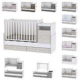 Lit bébé évolutif/combiné Trend Plus Chêne Clair Lorelli (Le lit se transforme en : lit d'adolescent, bureau,...