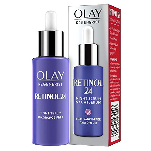 Olay Retinol24 Nachtserum, 40ml, Mit Retinol Und Vitamin B3 Für Glatte Und Strahlende Haut, Parfümfreies Retinol Serum Für Die Gesichtspflege