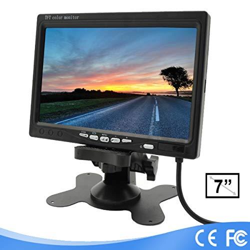 Lychee TFT Color LCD cámara de visión Trasera para Coche Soporte de Monitor de Pantalla Giratorio y 2 entradas AV, Utilizar con cámaras, DVD para Coche, Serveillance Cámara
