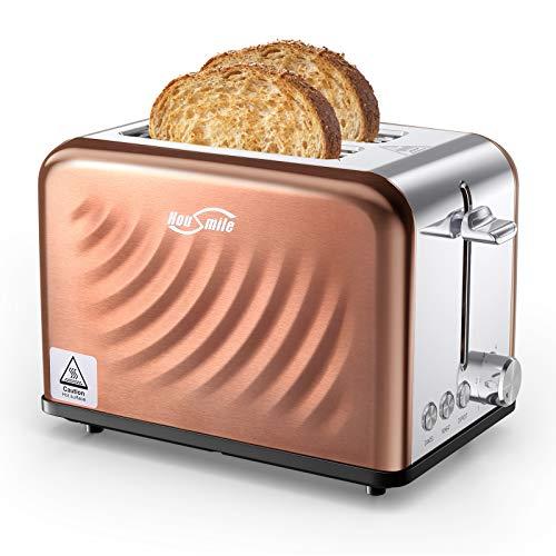 Housmile Edelstahl Toaster für 2 Brotscheiben, Frühstück Sandwichtoaster mit herausnehmbarer Krümelschublade und 6 Bräunungsstufen, abnehmbarer Brötchenaufsatz und Hebefunktion, Bronze