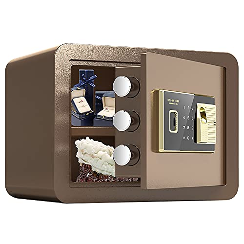 Caja fuerte de oficina, caja fuerte con contraseña de huellas dactilares, adecuada para el hogar/viajes/escuela, material de acero de aleación/A / 35cm×25cm×25cm