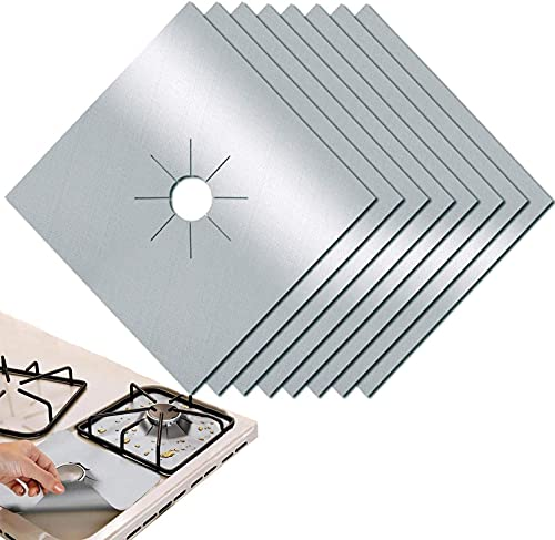 Gas Hob Range Protectors Set of 8 - Non-Stick Reusable Cooker Protector Double Thickness Gas Stove Mats Easy to Clean - by PUPOUSE (silver)
