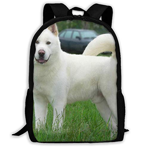 TTmom Schulrucksack,Schüler Bag,Rucksack Damen Herren Backpack Japanese Akita White Dog Zipper School Bookbag Daypack Travel Rucksack Gym Bag for Man Women