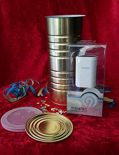 Idea regalo: Ninetec NT-573 5.400 mAh Power Bank – confezionato in scatola. (per apriscatole tradizionali!) - Nero – 2 X USB – Caricatore portatile + coperchio in plastica per riutilizzare).