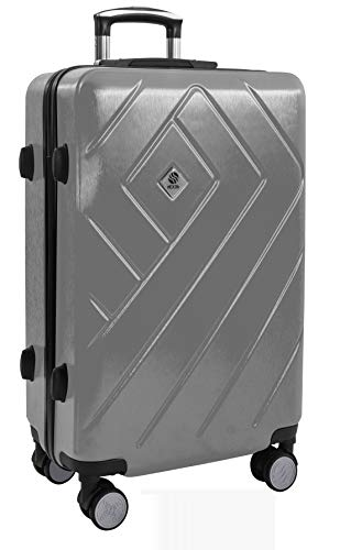 dEXEb Hardside Luggage - Lightweight Travel Suitcase with Scratch-Proof Hard Shell - 360° Spinner Wheels and TSA Approved Lock System, Aluminium Telescoping Handle and Soft Grip - Medium 24inch Silver