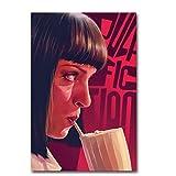 ZKPWLHS ImpressionssurToile 1 Pièce Pulp Fiction Vintage Film Art Soie Affiche Affiche Photos pour Salon Décor À La Maison Décor sans Cadre