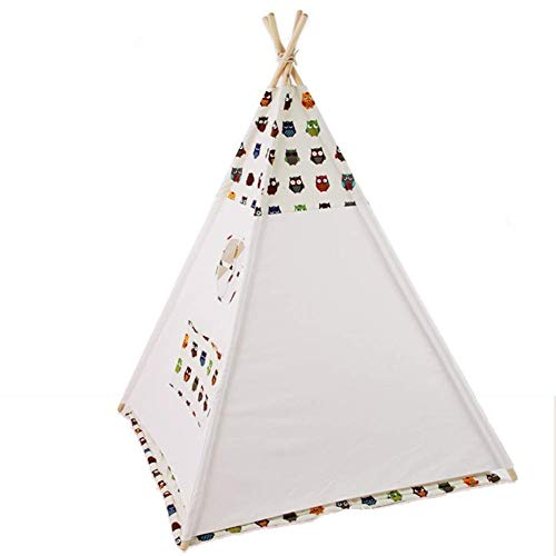 YDHWY Kids Foldable Teepee Play Tent with Carry Case, Banner, Fairy Lights, Feathers, Floor Mat, Style Raw White Color - New Version