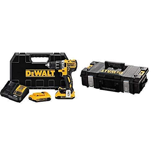 "DEWALT DCD791D2 20V MAX XR Li-Ion 0.5"" 2.0Ah Brushless Compact Drill/Driver Kit with DEWALT DWST08201 Tough System Case, Small"