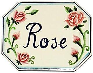 CERAMICHE D'ARTE PARRINI- Ceramica italiana artistica numero civico in ceramica 15x12 personalizzato decorazione rose matt...