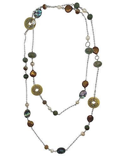 Ágata verde con jaspe, monedas chinas, perlas y abono, collar largo clásico...