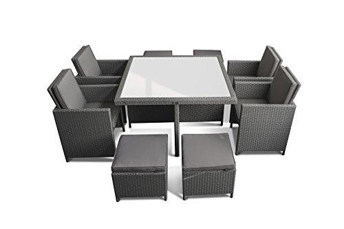 Ragnarök-Möbeldesign PolyRattan – DEUTSCHE Marke – EIGNENE Produktion – 8 Jahre GARANTIE auf UV-Beständigkeit Gartenmöbel Essgruppe Tisch + 4 Stühle & 4 Hocker 12 Polster Platinum Grau - 5