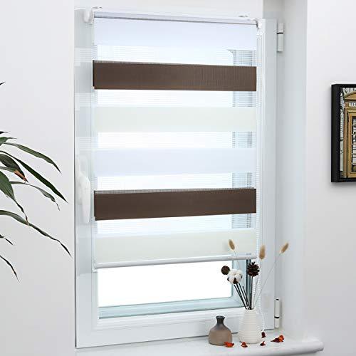 Grandekor Doppelrollo Klemmfix, Duo Rollos für Fenster und Tür ohne Bohren mit Klämmträger, Fensterrollo lichtdurchlässig & verdunkelnd - Weiß-Beige-Braun 65x120cm (Stoffbreite 61cm)