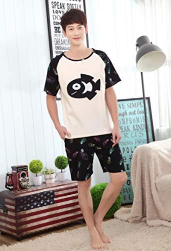 DFDLNL Los amantes del verano pijamas de dibujos animados gato y peces niñas pijama ropa de dormir de los hombres pijamas de las mujeres XXXL hombres