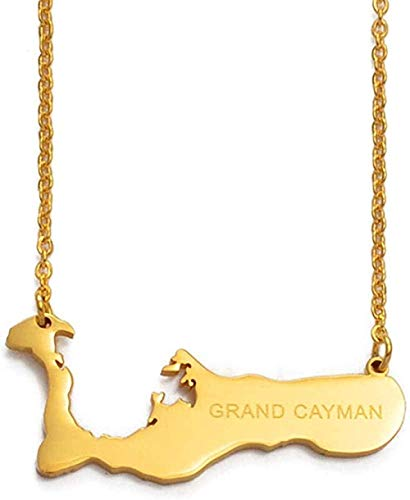 ZGYFJCH Co.,ltd Cadena de Collares 50 cm + 5 cm Las Islas Caimán para Gran Caimán Mapa Collares Pendientes Color Dorado Mapas de Encanto Regalos de joyería