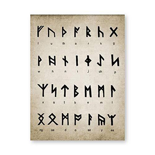 Rúnico Alfabeto Impresiones Arte De Adivinación Escritura Magia Vikingo Cuadro Antiguo Nórdico Idioma Vintage Poster Lienzo Pared Arte Hogar Decoracion Pintura